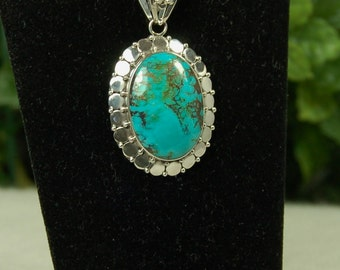 Turquoise Pendant, Blue Green, December Birthstone, American Turquoise, Sterling Silver, Natural Turquoise, Blue Green Turquoise