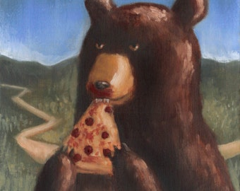 Bear Eating Pizza (oil painting)