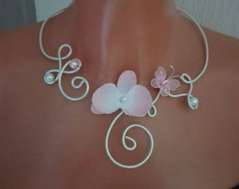set 4 pieces transparent glass White Pearl pink butterfly orchid / white bridal wedding jewelry