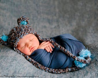 READY Baby Hat - Baby Bear Hat  - Baby Boy Hat - Baby Girl Hat-  2 Color Choices Earflaps and Ties with pom pom's