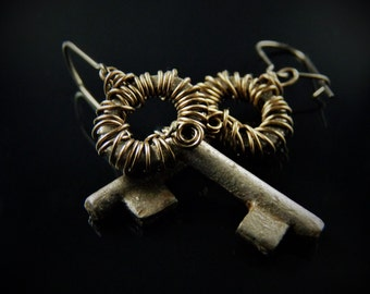 Wire Wrapped Vintage Key Earrings