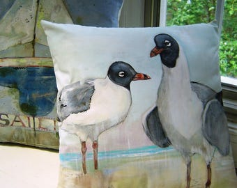 Sea Gulls on the Shore Pillow 16x16 Hand Painted Beach House Accent East Coast Laughing Gulls Watercolor Art Shore Birds