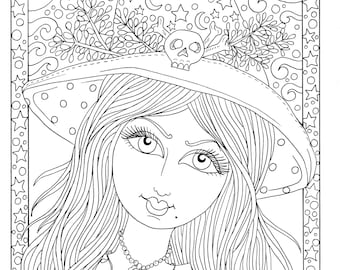 5 Pages magical Witches Halloween magic Coloring pages Digital Downloads Digi Stamp cats and bats