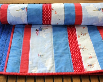 Paper Planes red and blue quilt featuring Belle and Boo fabric