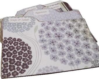 Recipe Tab Dividers MADE TO ORDER Coordinates with my Purple Hydrangea Recipe Box 4 x 6 Kitchen Organization (Set of 6)