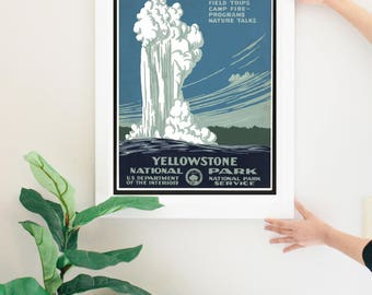vintage NATIONAL PARKS poster | Yellowstone National Park vintage poster | vintage print | framed poster | Old Faithful Poster