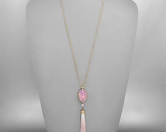 Ombre Pink Tassel & Crystal Pendant Necklace