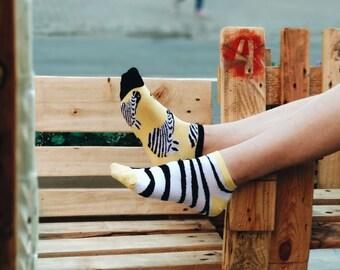 Marty short socks, Zebra Socks, Yellow Socks,Summer Socks for Men and Women
