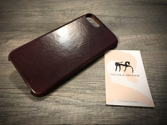 iPhone Shell CORDOVAN Leather Back Case for iPhone 8 7 6S & 6S PLUS choose device and color