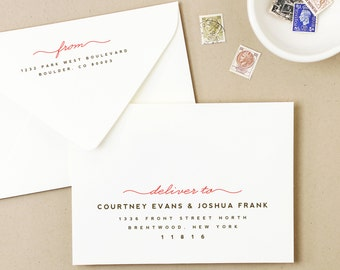 INSTANT DOWNLOAD | Printable Wedding Envelope Template | Penmanship | Calligraphy Alternative | for Word or Pages Mac & PC