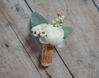 Wine Cork Boutonniere - White Peony Boutonniere with Lambs Ear
