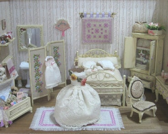 Empty roombox, diorama, scene, style shabby/victorian, handmade scene - Dollhouses miniature scale 1/12