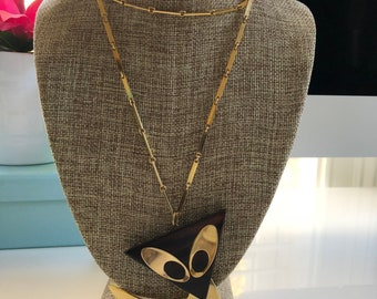 Vintage Gold and Wood Pendant Statement Necklace