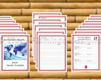 TRAVEL PLANNER, Travel Planning, Packing List, Budget Planner, Vacation Plan, 39 Pages, Red, Editable PDF, Printable, Instant Download Tfd89