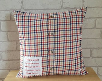 Keepsake Memory Cushion~Personalized Memory Pillow~Remembrance Cushion~Men's Shirt Cushion~Ladies Dress Cushion~Memory Pillow~Memorial Gift
