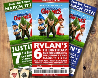 Sherlock Gnomes Invitation, Gnomeo and Juliet, Movie Ticket Invitation, Birthday Party, Party Printable, Download, Digital