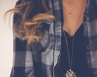 Gold Necklace   Long necklace, Bodhi tree necklace, Boho necklace, Dainty pendant necklace, Minimalist jewelry