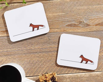 Fox Coasters, Set of Two, Gift for Fox Lovers, Fox, Fox Gifts, Fox Themed Gifts