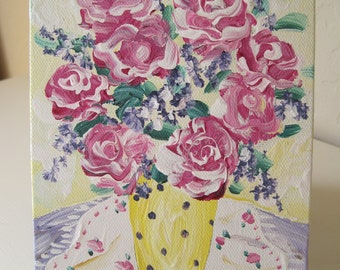 Original Painting Floral Still Life on Canvas ACEO Pink Purple Lavender Yellow Floral