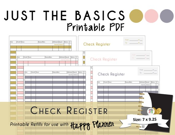 Happy Planner Printable Check Register Planner Inserts Pdf