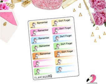 Unicorns: Remember & Don't Forget - Planner Stickers
