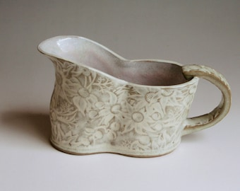 Gravy boat with Australian Flannel Flowers in buff and white