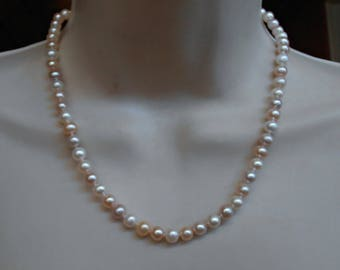 Sterling Pearl Necklace, Pastel Fresh Water 8mm, Bridal Wedding Jewelry