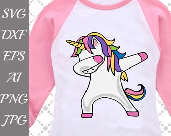 "Dabbing Unicorn Svg: ""UNICORN DAB SVG"" Funny Unicorn Svg,Dab Svg,Rainbow Dabbing,Dabbing tshirt Svg,Silhouette Cut Files,Cameo Svg,Dxf files"
