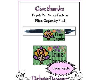 Bead Pattern Peyote(Pen Wrap/Cover)-Give thanks
