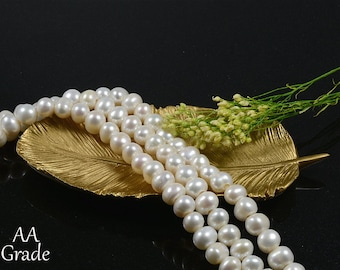 AA Grade Pearl, 8mm to 9mm, Freshwater Pearl, Genuine Pearl, 2.5mm Hole, Natural White, Potato Pearl, High Luster, RETAIL - 10 PCS/ order