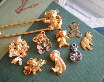 Vintage Teddy Bear Charm Pin Brooch 9 Lot Retro Bears for Jewelry Necklaces Bracelets Gifts - Destash Animal Jewellery Metal & Enamel Bears