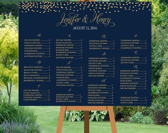 PRINTABLE Wedding seating chart alphabetical, Gold Dots Confetti Wedding Seating Chart Template,Table plans seating assignment | PY9