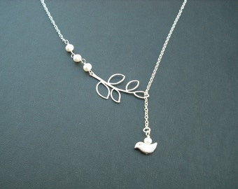 matte silver five leaf branch and bird lariat - white gold plated chain