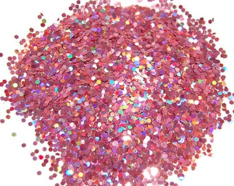 Rose Glitter, SOLVENT RESISTANT, HOLOGRAPHIC Glitter, 0.062 Hex, Glitter Nail Art, Glitter Nail Polish, Glitter Crafts, Nail Glitter, Slime