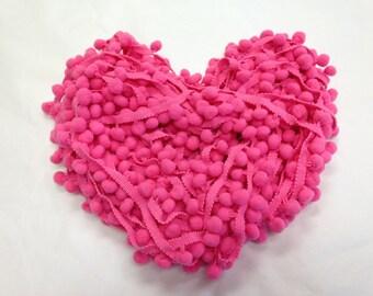 3 Yards dark Pink Pom Poms/Pompoms/Retro Pink pom pom trim/Dark Pink Pompom trims/pink trims/Pink pom poms