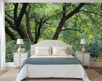 Wallpaper Trees, Wallpaper Forest, Woods Wall Mural, Wall decal Woods, Peel And Stick Wall Decal