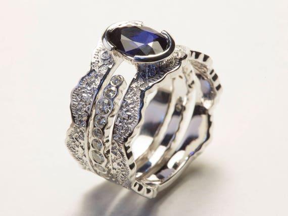 Wedding Ring Set Sapphire Bridal Set Diamond Bridal Set