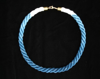 Brass Blue White Thread Necklace Ombre