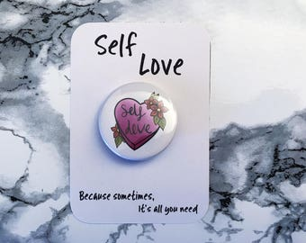 Self Love 38mm Tattoo Style Button Badge