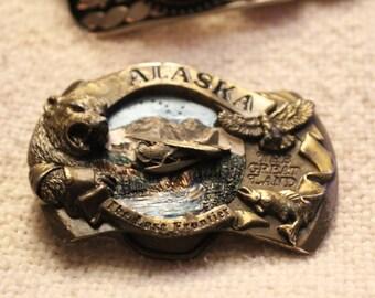 Vintage Alaskan Brass Belt Buckle!