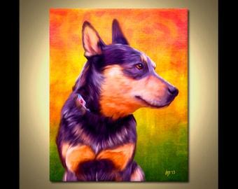 Australian Cattle Dog Portrait | Custom Australian Cattle Dog Portrait | Australian Cattle Dog Painting | Australian Cattle Dog Art