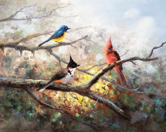 Singing Birds - 24x36  - 100% Hand Painted, Oil Painting on Canvas
