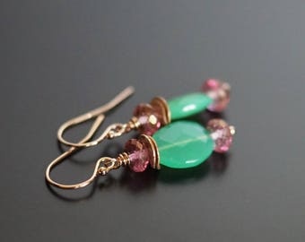 Green Chalcedony earrings, Chalcedony jewelry, pink topaz earrings, green gemstone earrings, pink earrings, 14k rose gold fill ear wires