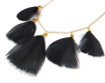 Black Feather Necklace On Gold Chain, Real Natural Feather Necklace, Statement Necklace