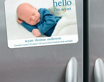 Hello Baby - Birth Announcement Magnets + Envelopes
