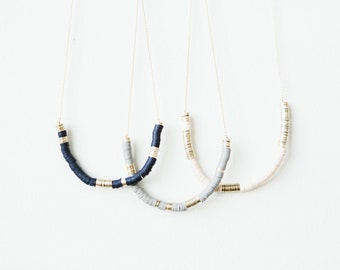Vinyl & Brass Beads Necklace