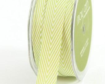 Celery Green Chevron Twill Ribbon . 5 yards (15 feet) . 3/4 inch