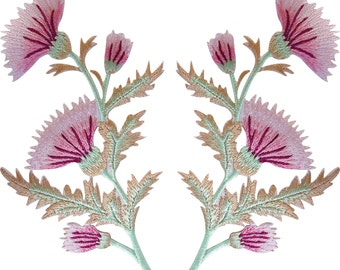 Pair of Pink Thistle Flower Patches Iron Sew On T Shirt Bag Flowers Patch Badge