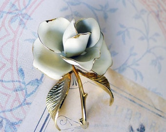 Rose Pin, White Rose Brooch, Mother's Day Memory Remembrance Vintage Jewelry Signed Designer CERRITO, Rare Designer White Flower Coat Pin