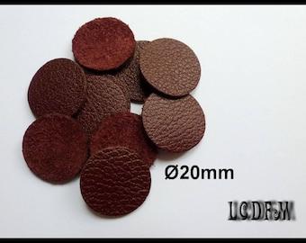 * ¤ 10 round color trend Bordeaux - 20 mm Brown leather ¤ * #C48
